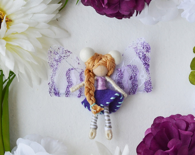 Felt Fairy Doll in Purple, a Perfect Miniature Small Waldorf Fairy Doll