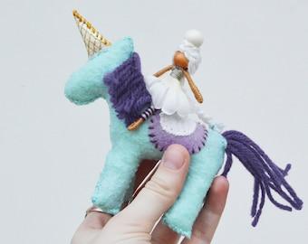 Unicorn Felt Doll  and Fairy Doll in Purple and Mint, a Perfect Felt Unicorn Plushie and Waldorf Fairy