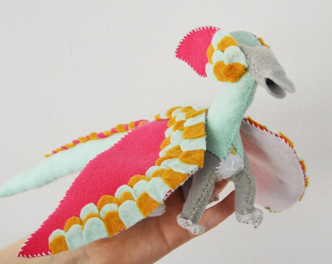 Felt Dragon and Fairy Doll in Pink, a Waldorf Stuffed Dragon Plush Toy