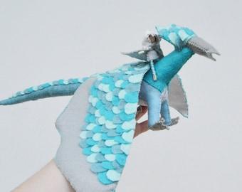 Felt Dragon and Fairy Doll in Blue Felt, a Perfect Waldorf Felt Dragon Gift