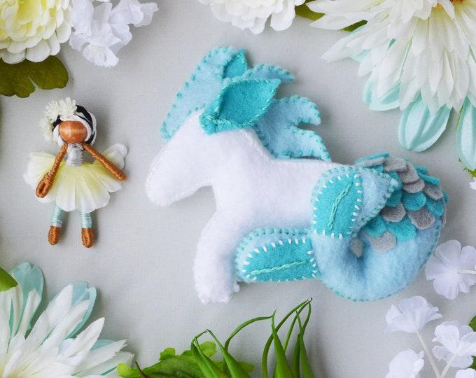 Felt Sea Horse and Fairy Doll, Felt Waldorf Toy, Miniature Fairy Doll, Waldorf Felt Sea Horse