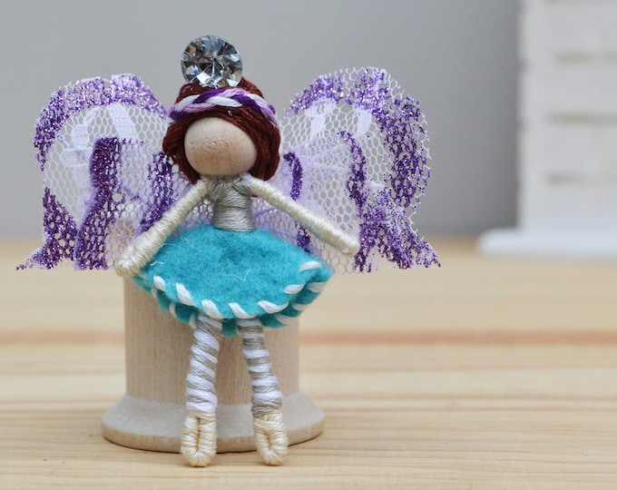 Miniature Fairy Doll in Blue and Purple, a Perfect Small Waldorf Fairy Doll Gift