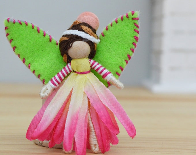 Waldorf Fairy Doll in Pink and Green, a Perfect Miniature Felt Waldorf Fairy Doll Gift