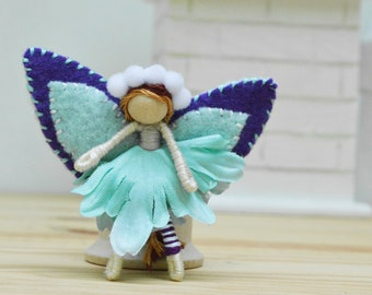 Waldorf Fairy Doll  in Teal, a Perfect Flower Felt Small Fairy Doll Gift