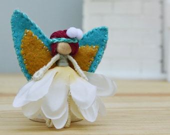 Waldorf Fairy Doll in Purple, Teal, and Gold, the Perfect Miniature Felt Waldorf Fairy Doll
