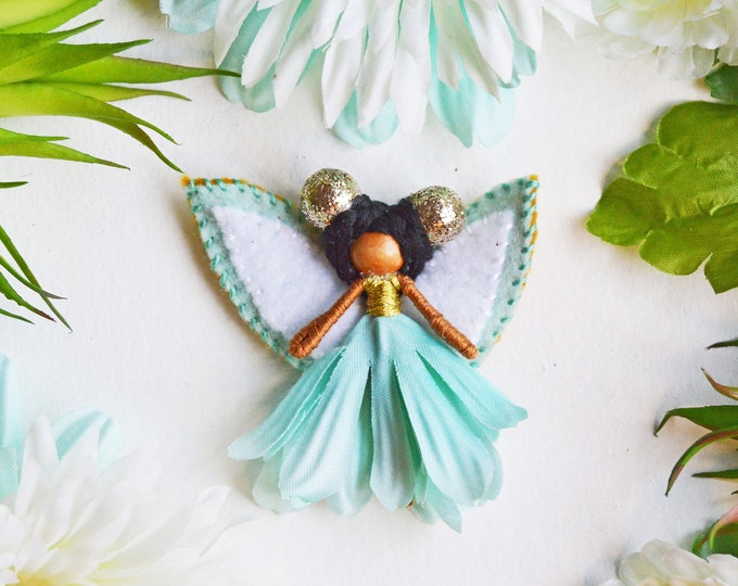 Flower Fairy Doll in Teal and Gold, a Perfect Miniature Waldorf Fairy Doll Gift