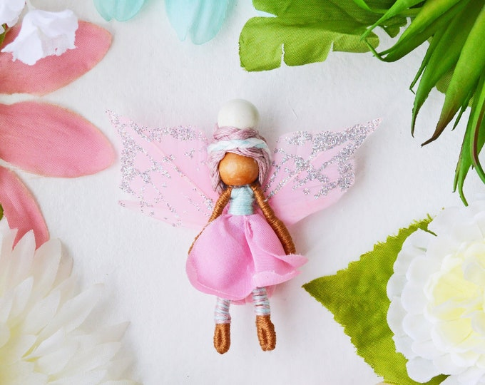 Miniature Fairy Doll in Pink, a Perfect Miniature Flower Waldorf Doll