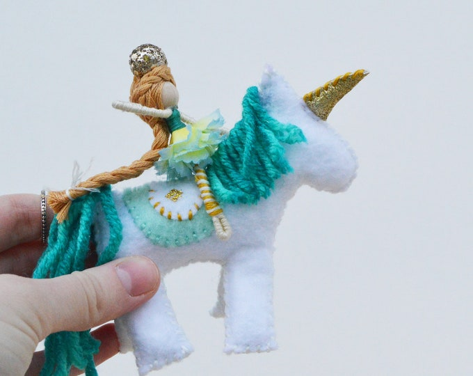 Felt Unicorn Toy and Fairy Doll in Blue and White, a Perfect Waldorf Unicorn Gift