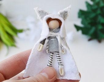 Felt Fox Doll, Felt Waldorf Doll, Miniature Fairy Doll, Boy Waldorf Doll