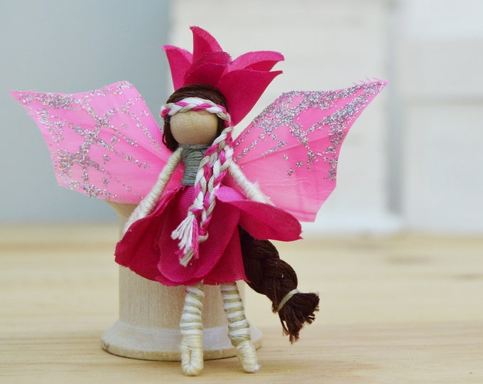 Miniature Fairy Doll in Pink, a Flower Waldorf Doll Gift