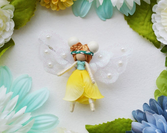 Flower Fairy Doll in Yellow, a Perfect Miniature Waldorf Fairy Doll Gift