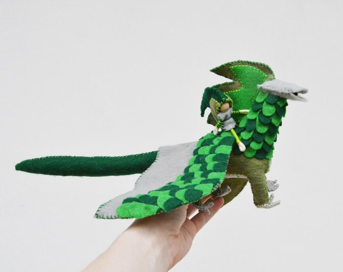 Felt Dragon and Fairy Doll in Green Felt, a Forest Dragon made in the Waldorf style