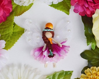 Miniature Fairy Doll in Purple and Orange, a Perfect Miniature Waldorf Flower Fairy Doll Gift