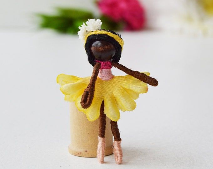 Ballet Fairy Doll, Ballerina Doll, Dance Recital Gift, Black Fairy Doll, Miniature Fairies
