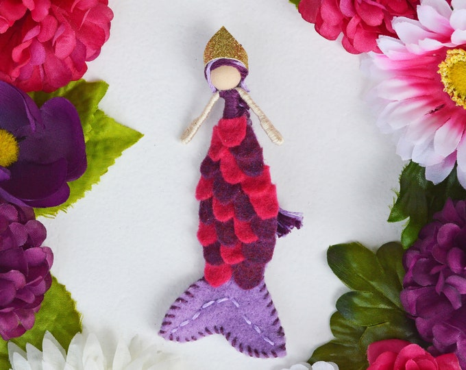 Mermaid Doll in Purple and Pink, a Perfect Felt Waldorf Miniature Mermaid Doll Gift