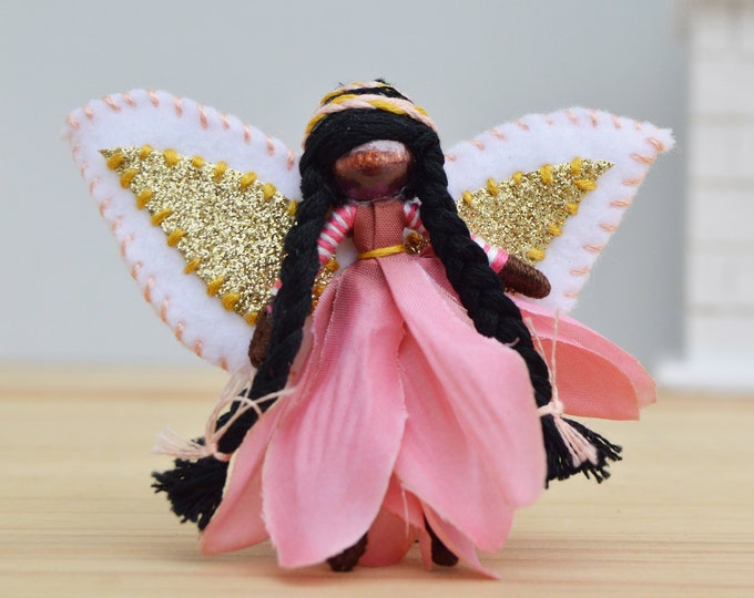 Black Fairy Doll in Pink Flowers, made in Miniature and in the Waldorf style