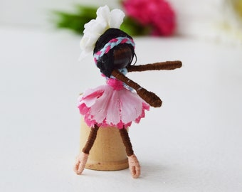 Ballerina Doll, Dance Recital Gift, Ballet Gift, Ballet Doll, Miniature Pocket Fairy Doll, Black Fairy Doll