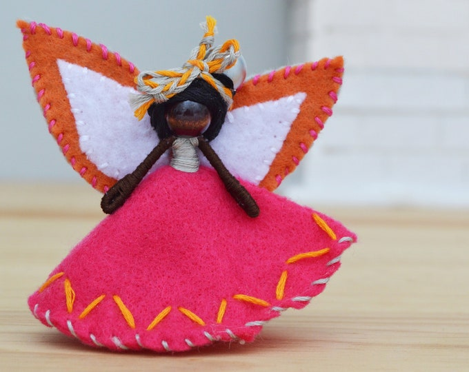 Felt Fairy Doll in Pink Felt made in Miniature and in the Waldorf Style