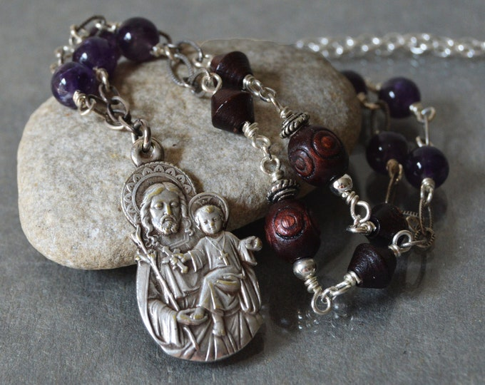 Saint Joseph Necklace, Catholic Religious Jewelry, Confirmation Sponsor gift, Catholic Jewelry for women, Catholic Spiritual Jewelry