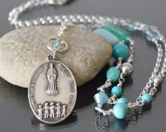 Virgin Mary Necklace, Our Lady of Beauraing, Virgin of the Golden Heart, Catholic Jewelry, Religious Necklace, Catholic Godmother gift