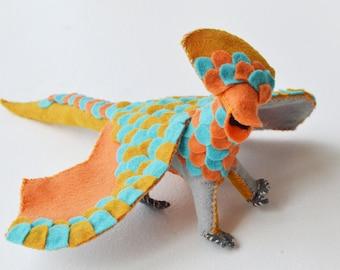 Plush Dragon and Fairy Doll in Orange and Blue Felt a Perfect Waldorf Felt Dragon Doll Gift
