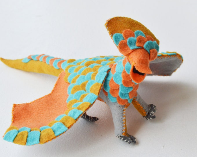 Plush Dragon and Fairy Doll in Orange and Blue Felt a Perfect Waldorf Felt Dragon Doll Gift