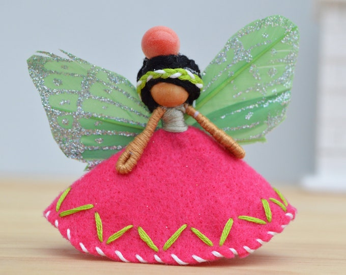 Waldorf Fairy Doll in Pink and Green Felt and Butterfly Wings Perfect for a Miniature Fairy Doll Gift