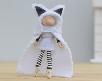 Felt White Wolf Doll, a Perfect Miniature Waldorf Boy Fairy Doll
