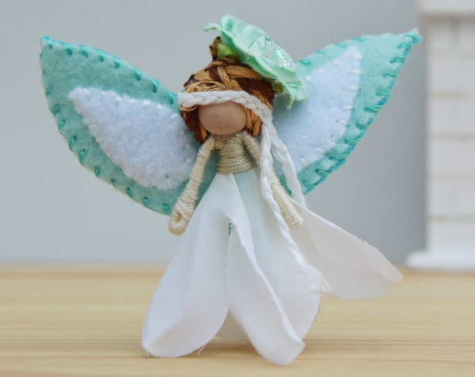 Miniature Fairy Doll  in Blue and White, a Perfect Waldorf Flower Fairy Doll Gift