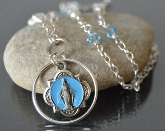 Virgin Mary Necklace, Vintage Miraculous Medal Necklace, Catholic Religious Jewelry, Blessed Mother Necklace