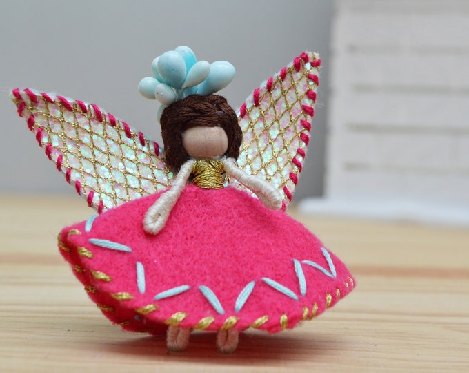 Waldorf Fairy Doll in Pink, a Perfect Miniature Felt Fairy Doll Gift