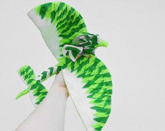Felt Dragon and Fairy Doll in Green Felt, a Plush Waldorf Dragon Doll Gift