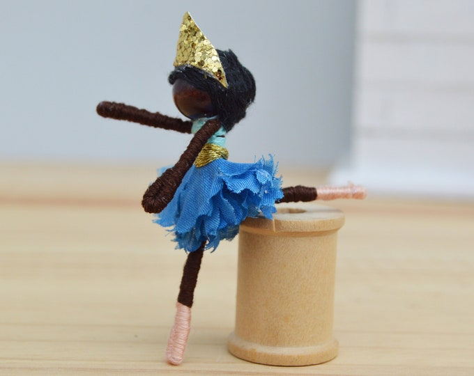 Black Ballet Doll in a Blue Tutu, a Ballerina Doll is a perfect Gift for a Young Dancer or Dance Recital