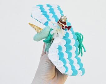 Unicorn Pegasus Felt and Fairy Doll in Teal and Gold, a Perfect Felt Unicorn Gift Waldorf Fairy Doll