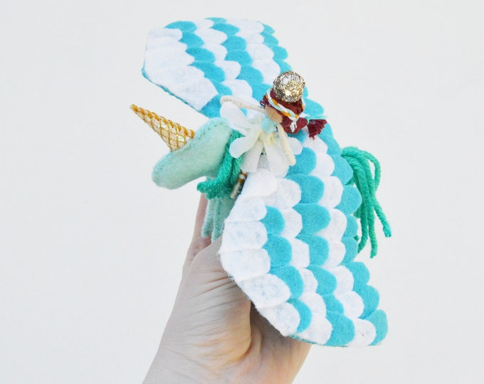 Unicorn Pegasus Felt and Fairy Doll in Teal and Gold, a Perfect Felt Unicorn Gift Waldorf Fairy Doll