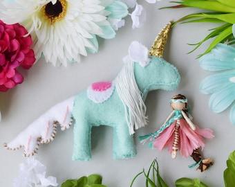Felt Unicorn and Fairy Doll, Waldorf Unicorn Toy, Miniature Fairy Doll, Miniature Fairies,