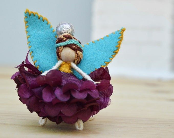 Flower Fairy Doll in Purple and Teal, a Perfect Miniature Waldorf Fairy Doll Gift