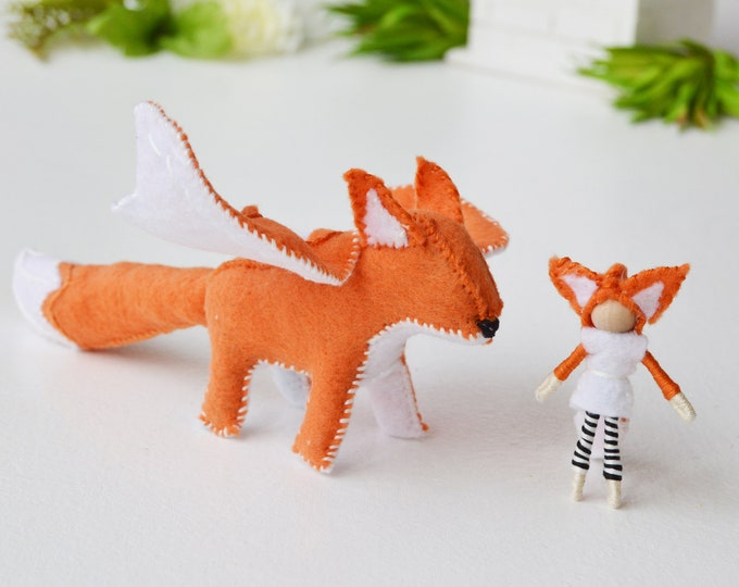 Felt Dragon Fox and Fairy Doll, Felt Waldorf Dragon, Dragon Felt Toy, Felt Fairy Doll