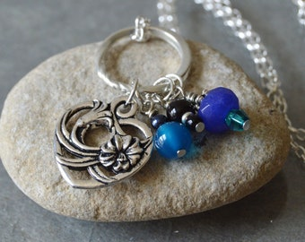 Floral Heart Necklace with teal blue and black bead charms, Christian Heart Pendant Necklace