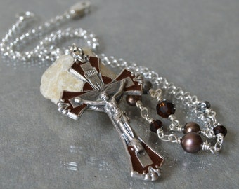 Catholic Jewelry, Enameled Cross Necklace for Women, Cross Pendant Necklace, Confirmation sponsor gift