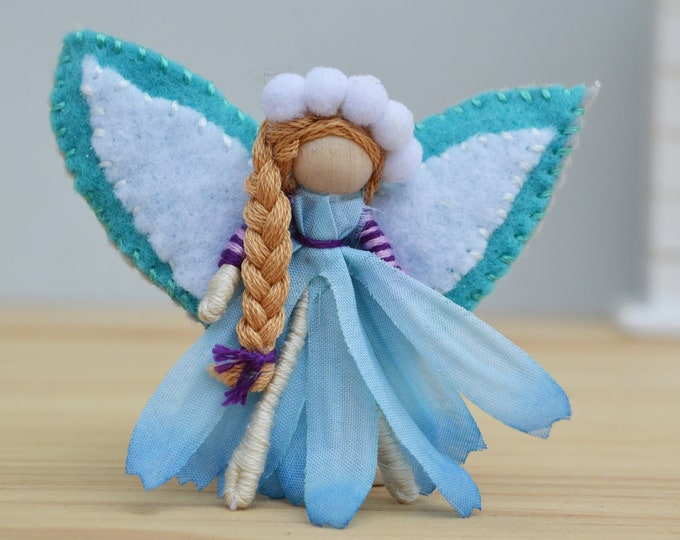 Flower Fairy Doll in Blue, a Perfect Miniature Waldorf Fairy Doll Gift