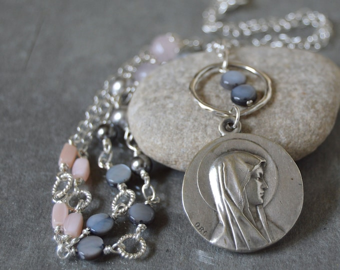 Religious Catholic Jewelry in a Blessed Mother Mary Necklace for women with a vintage Our Lady of Lourdes medal, Godmother gift