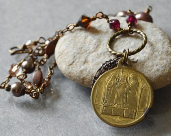 Catholic Necklace, Saint Genevieve, Bertille, Eutropia, Religious Catholic Jewelry, Confirmation gift, Catholic necklace for women