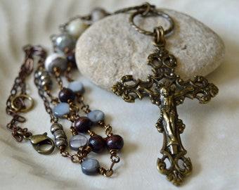 Large Brass Ornate Catholic Cross Necklace for Women