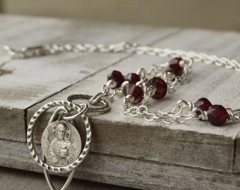 Scapular Medal Catholic Necklace, Sacred Heart of Jesus and Our Lady of Mt Carmel Jewelry