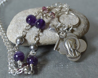 Our Lady of Lourdes Necklace in Shades of Amethyst and Silver