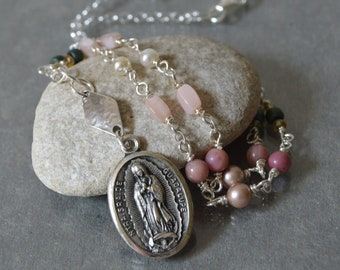 Religious Catholic Necklace of the Virgin Mary as Our Lady of Guadalupe, gift for Godmother, Confirmation sponsor