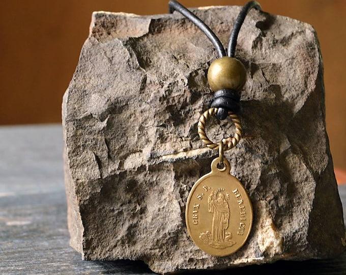 Saint Benedict Men's Necklace, Men's Catholic Jewelry, Catholic Father's Day, Catholic Men's Necklace, Boy Confirmation Necklace, Men's gift