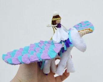 Felt Unicorn with flower fairy doll, fairy bedroom decoration for girl