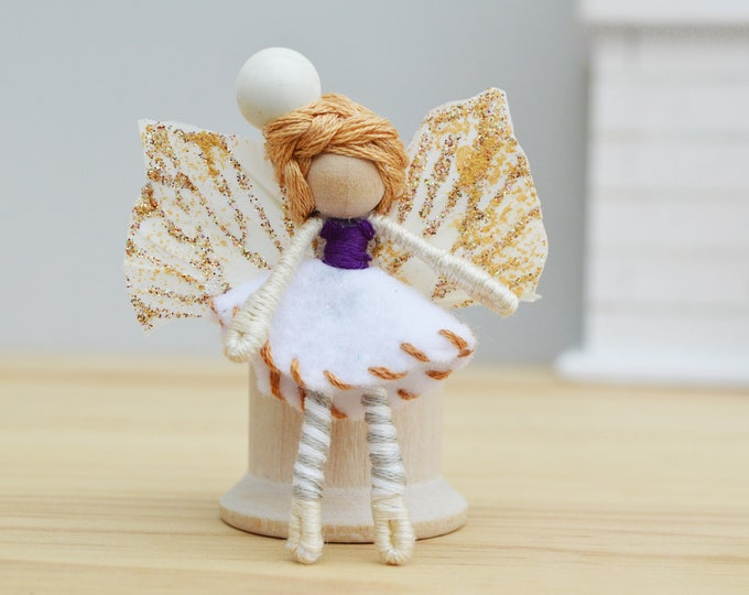 Waldorf Fairy Doll in Miniature style with Butterfly Wings and Felt, the Perfect Small Fairy Doll Gift